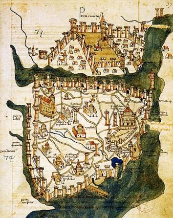 MAPA DE CONSTANTINOPLA 1422